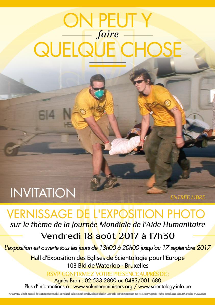 Vernissage de l'exposition photo organisée par les Ministres Volontaires de Scientologie sur le thème de l'aide humanitaire
