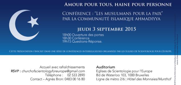 """Conférence """"Les Musulmans pour la Paix"""" par la Communauté Islamique Ahmadiyya"""