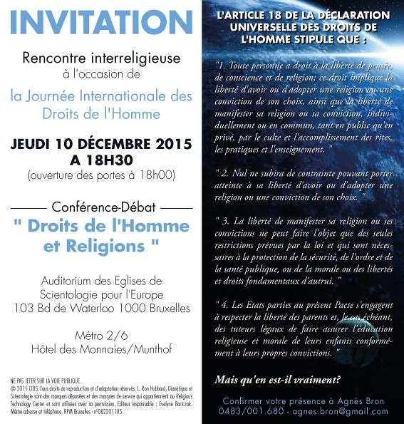 Conférence-Débat: Droits de l'Homme et Religions - Jeudi 10 Décembre 2015