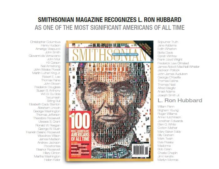 Le Smithsonian magazine reconnaît Ron Hubbard comme l'un des Américains les plus importants de tous les temps